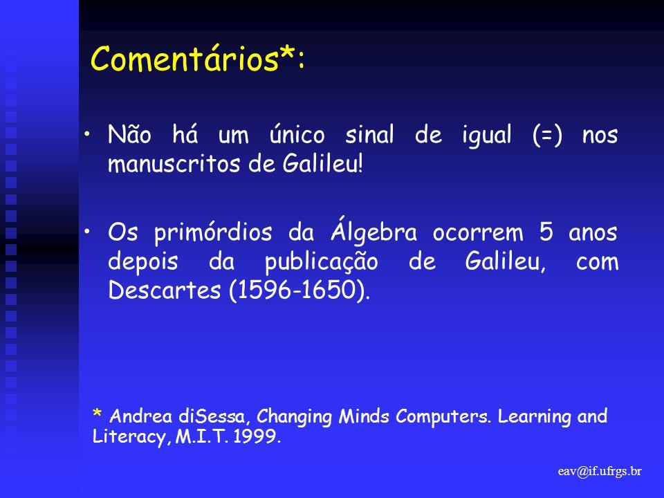 eav@if.ufrgs.br Comentários*: •Não há um único sinal de igual (=) nos manuscritos de Galileu! •Os primórdios da Álgebra ocorrem 5 anos depois da publi