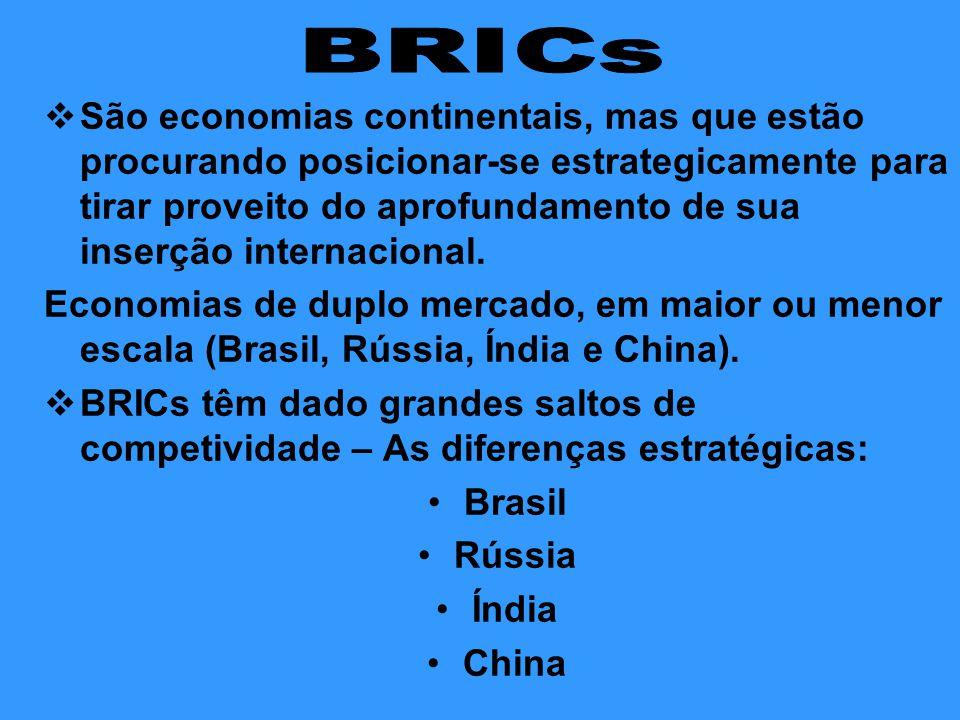  São economias continentais, mas que estão procurando posicionar-se estrategicamente para tirar proveito do aprofundamento de sua inserção internacio