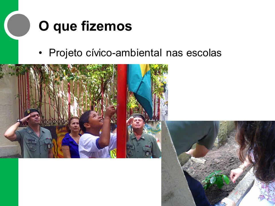 O que fizemos •Projeto cívico-ambiental nas escolas