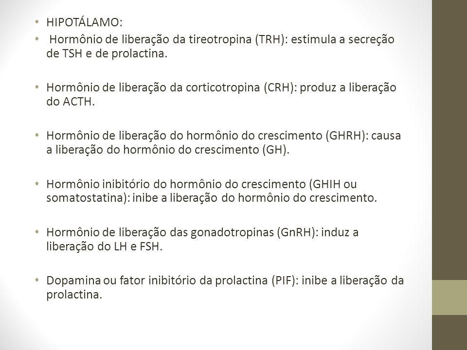 • HIPOTÁLAMO: • Hormônio de liberação da tireotropina (TRH): estimula a secreção de TSH e de prolactina. • Hormônio de liberação da corticotropina (CR