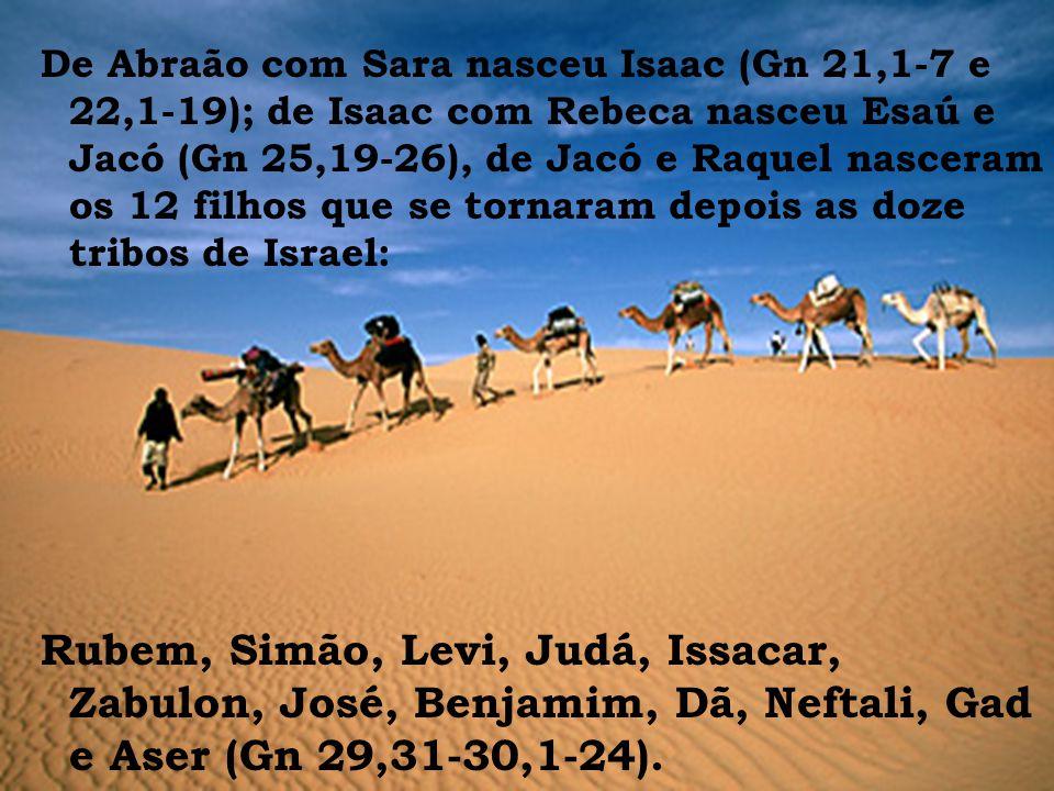 De Abraão com Sara nasceu Isaac (Gn 21,1-7 e 22,1-19); de Isaac com Rebeca nasceu Esaú e Jacó (Gn 25,19-26), de Jacó e Raquel nasceram os 12 filhos qu