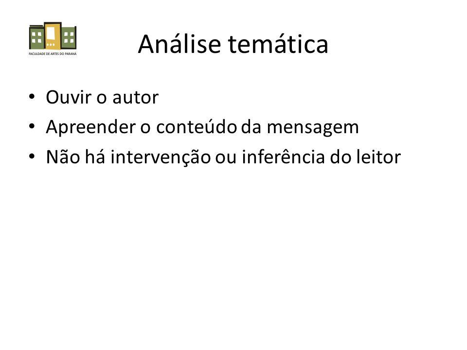 Análise temática • Ouvir o autor • Apreender o conteúdo da mensagem • Não há intervenção ou inferência do leitor