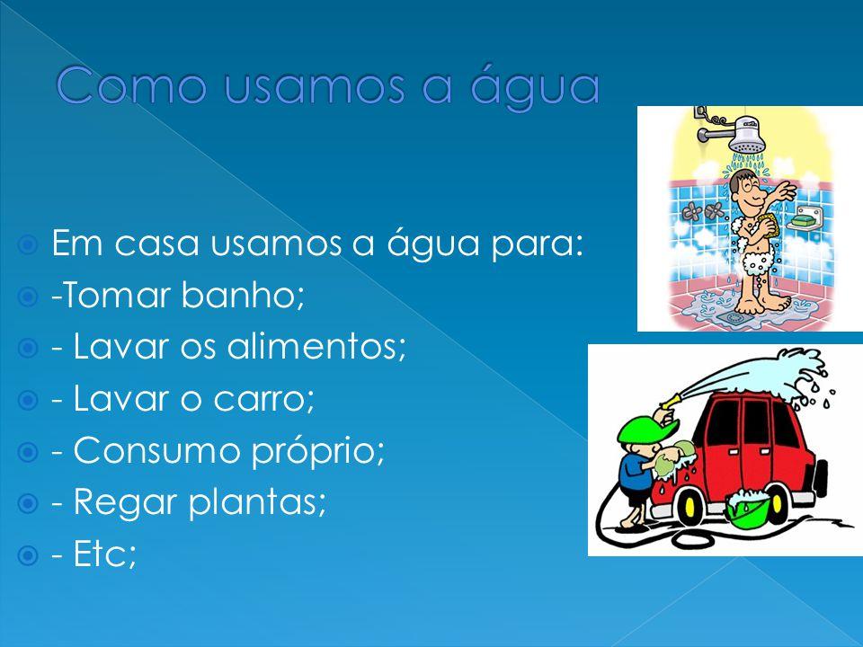 Em casa usamos a água para:  -Tomar banho;  - Lavar os alimentos;  - Lavar o carro;  - Consumo próprio;  - Regar plantas;  - Etc;