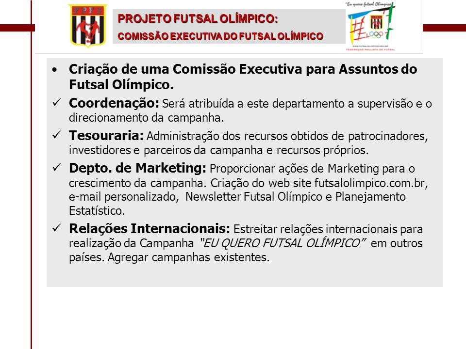 •Criação de uma Comissão Executiva para Assuntos do Futsal Olímpico.  Coordenação: Será atribuída a este departamento a supervisão e o direcionamento
