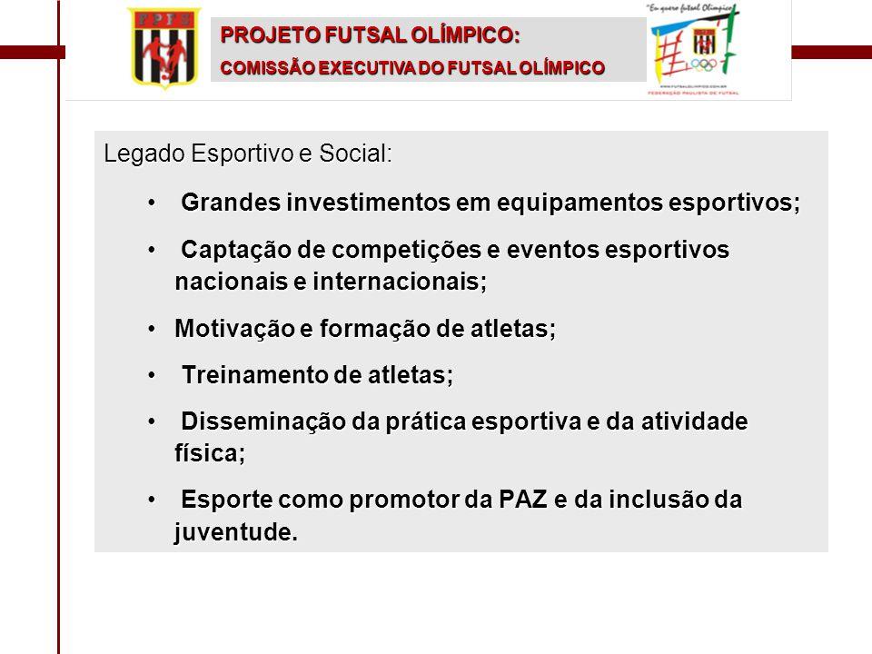 PROJETO FUTSAL OLÍMPICO: COMISSÃO EXECUTIVA DO FUTSAL OLÍMPICO Legado Esportivo e Social: • Grandes investimentos em equipamentos esportivos; • Captaç