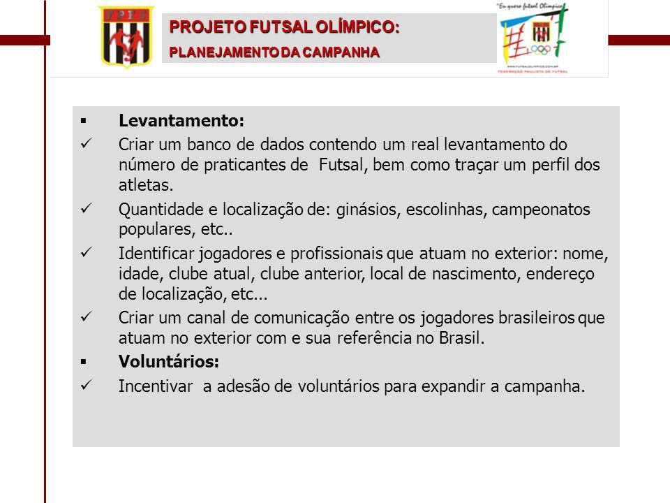   Levantamento:   Criar um banco de dados contendo um real levantamento do número de praticantes de Futsal, bem como traçar um perfil dos atletas.