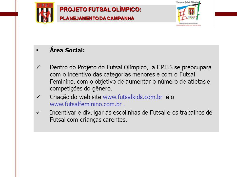  Área Social:   Dentro do Projeto do Futsal Olímpico, a F.P.F.S se preocupará com o incentivo das categorias menores e com o Futsal Feminino, com