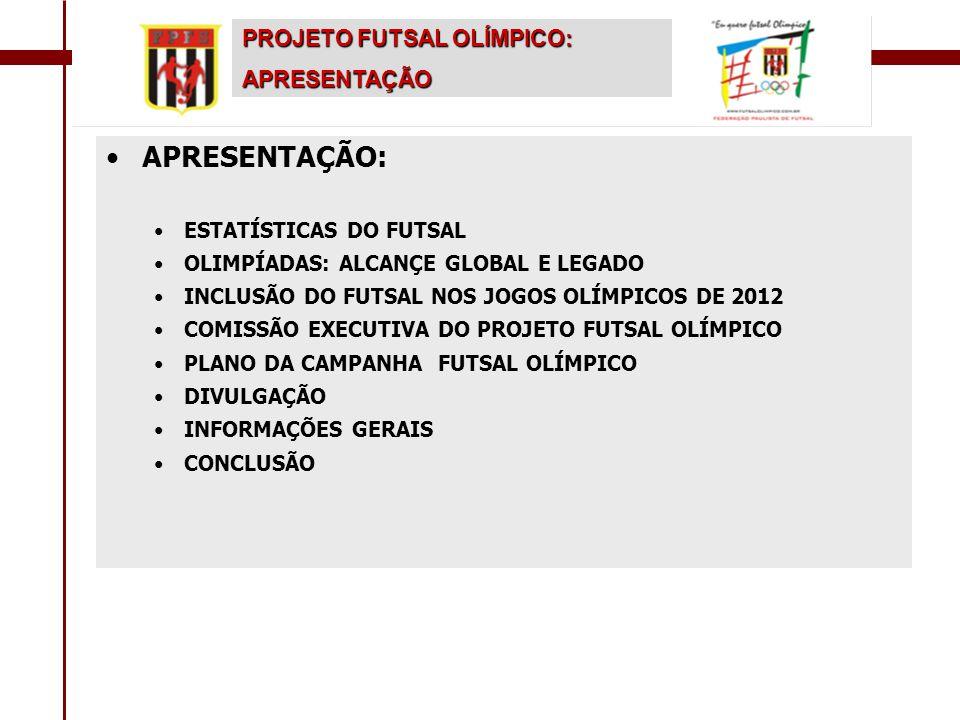 •Pleitear a inclusão do Futsal nas Olimpíadas de 2012; •Apoiar a candidatura do Rio de Janeiro para sediar os jogos olímpicos de 2012; •Incentivar e divulgar a inclusão do Futsal nos jogos Pan-americanos de 2007; •Recolher 1 milhão de assinaturas eletrônicas e 1 milhão assinaturas por escrito para o abaixo- assinado em apoio ao Futsal Olímpico; •Elaboração do dossiê do Futsal pelo mundo; •Esta campanha será liderada pela Federação Paulista de Futebol de Salão com autorização do Presidente da C.B.F.S.