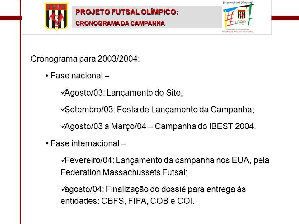 PROJETO FUTSAL OLÍMPICO: CRONOGRAMA DA CAMPANHA Cronograma para 2003/2004: • Fase nacional –  Agosto/03: Lançamento do Site;  Setembro/03: Festa de