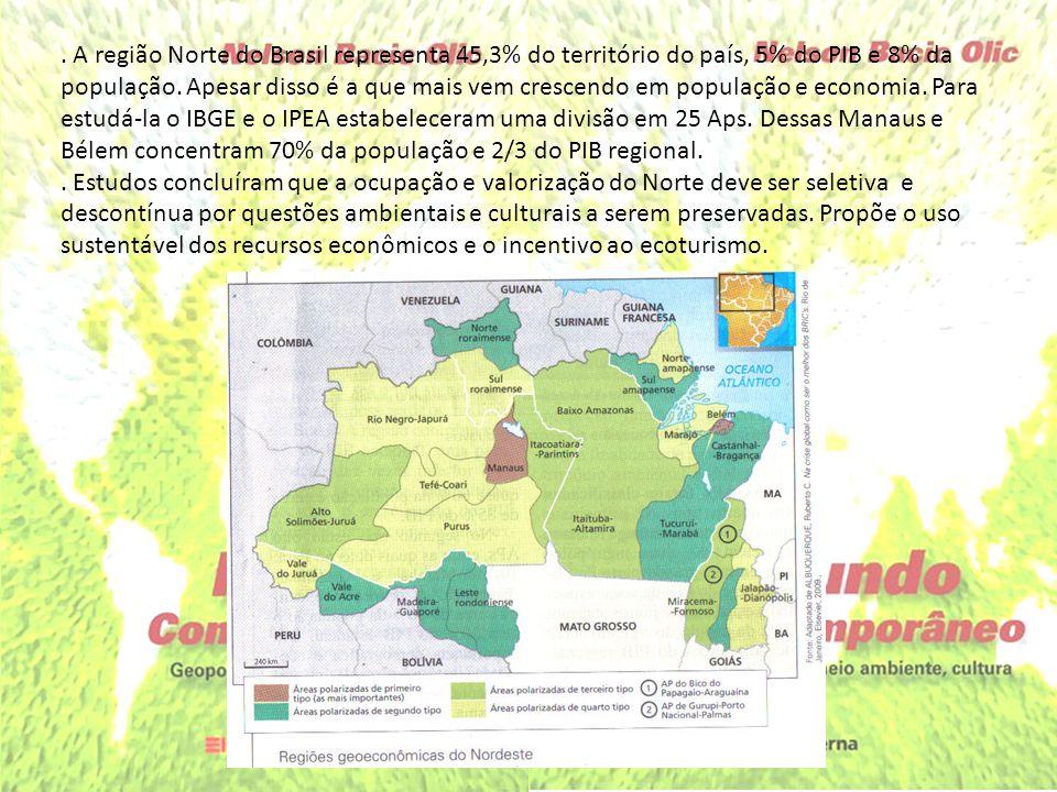 . A região Norte do Brasil representa 45,3% do território do país, 5% do PIB e 8% da população. Apesar disso é a que mais vem crescendo em população e