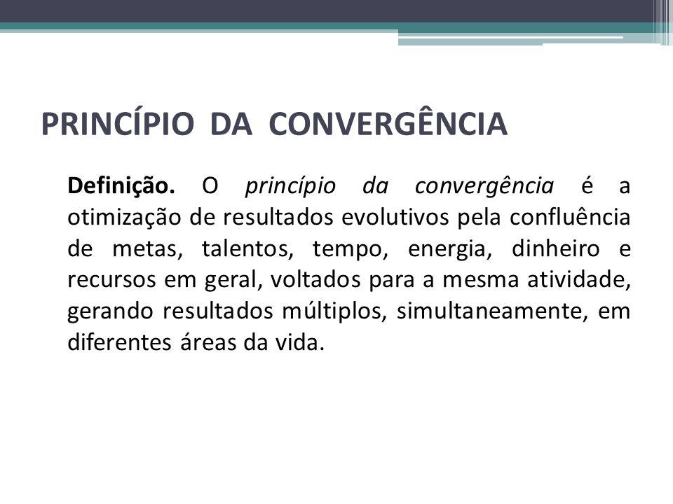 PRINCÍPIO DA CONVERGÊNCIA Definição. O princípio da convergência é a otimização de resultados evolutivos pela confluência de metas, talentos, tempo, e