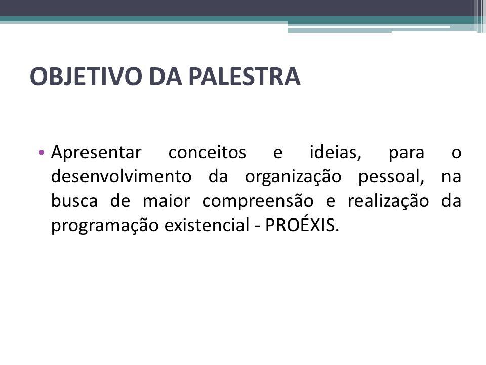 OBJETIVO DA PALESTRA • Apresentar conceitos e ideias, para o desenvolvimento da organização pessoal, na busca de maior compreensão e realização da pro