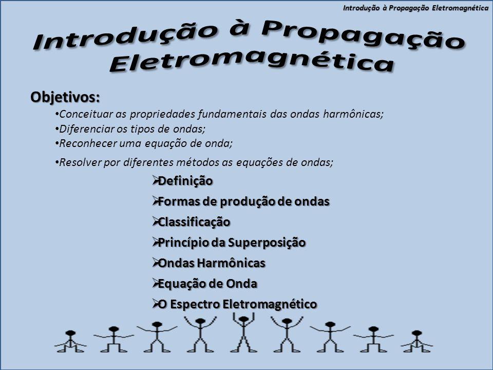 Introdução à Propagação Eletromagnética  Definição  Formas de produção de ondas  Classificação  Princípio da Superposição  Ondas Harmônicas  Equação de Onda  O Espectro Eletromagnético Objetivos: • Conceituar as propriedades fundamentais das ondas harmônicas; • Diferenciar os tipos de ondas; • Reconhecer uma equação de onda; • Resolver por diferentes métodos as equações de ondas;