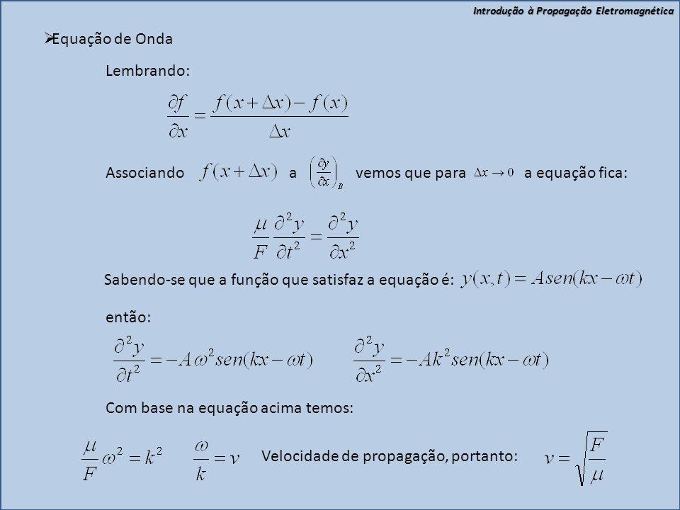 Introdução à Propagação Eletromagnética  Equação de Onda 22 11 xx F F Aplicando a segunda lei de Newton no elemento  x: A B Considerando: ; ;