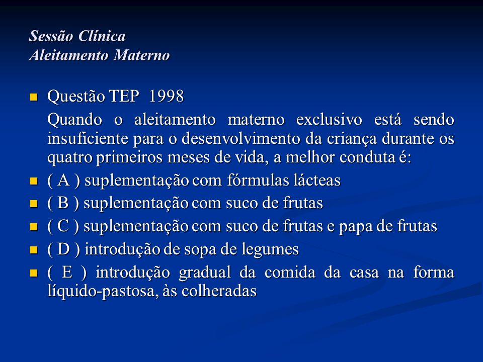 Sessão Clínica Aleitamento Materno  Questão TEP 1998 Quando o aleitamento materno exclusivo está sendo insuficiente para o desenvolvimento da criança