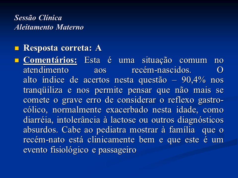 Sessão Clínica Aleitamento Materno  Resposta correta: A  Comentários: Esta é uma situação comum no atendimento aos recém-nascidos. O alto índice de