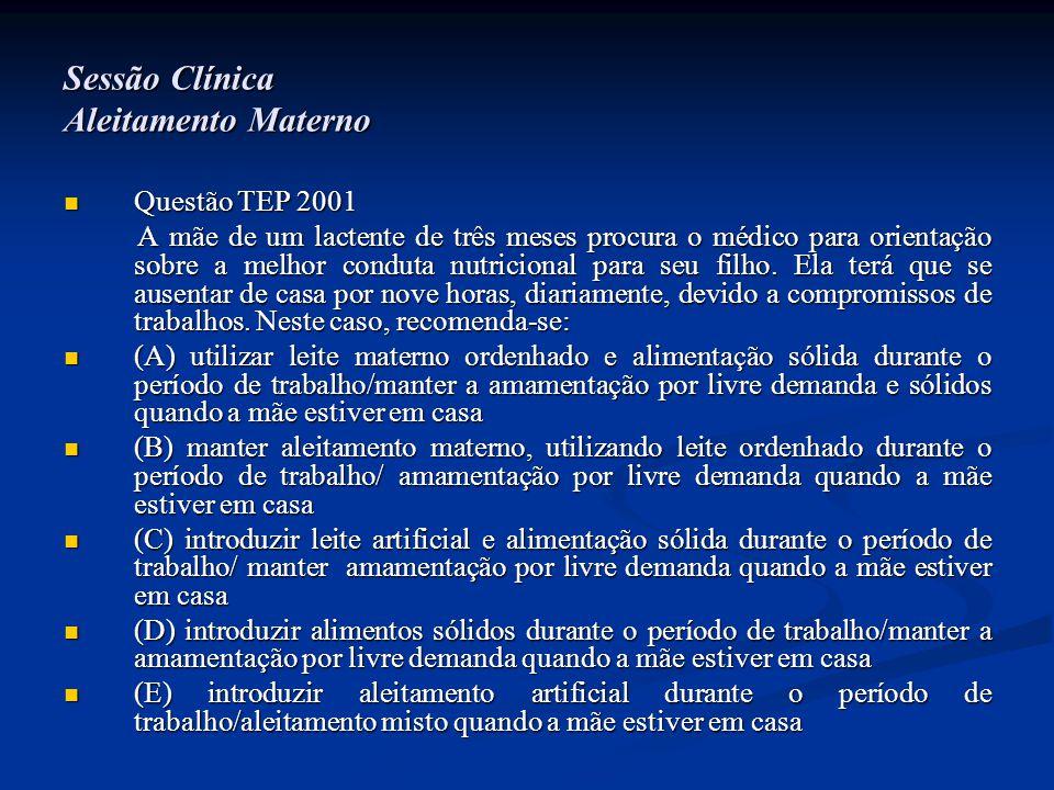 Sessão Clínica Aleitamento Materno  Questão TEP 2001 A mãe de um lactente de três meses procura o médico para orientação sobre a melhor conduta nutri