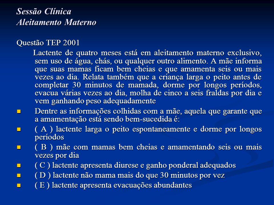 Sessão Clínica Aleitamento Materno Questão TEP 2001 Lactente de quatro meses está em aleitamento materno exclusivo, sem uso de água, chás, ou qualquer