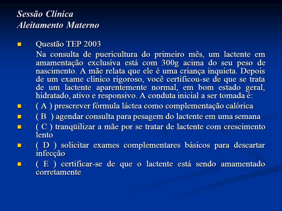 Sessão Clínica Aleitamento Materno  Questão TEP 2003 Na consulta de puericultura do primeiro mês, um lactente em amamentação exclusiva está com 300g