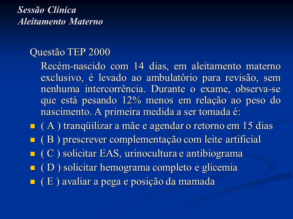 Sessão Clínica Aleitamento Materno Questão TEP 2000 Recém-nascido com 14 dias, em aleitamento materno exclusivo, é levado ao ambulatório para revisão,