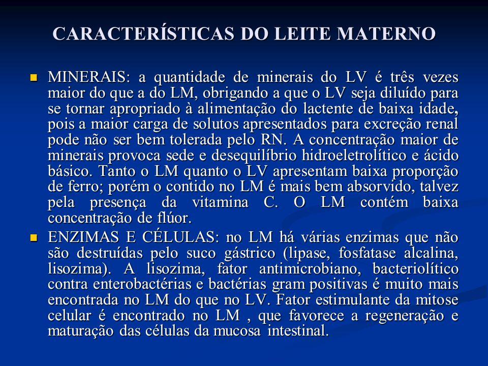 CARACTERÍSTICAS DO LEITE MATERNO  MINERAIS: a quantidade de minerais do LV é três vezes maior do que a do LM, obrigando a que o LV seja diluído para