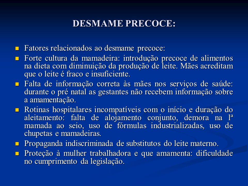 DESMAME PRECOCE:  Fatores relacionados ao desmame precoce:  Forte cultura da mamadeira: introdução precoce de alimentos na dieta com diminuição da p
