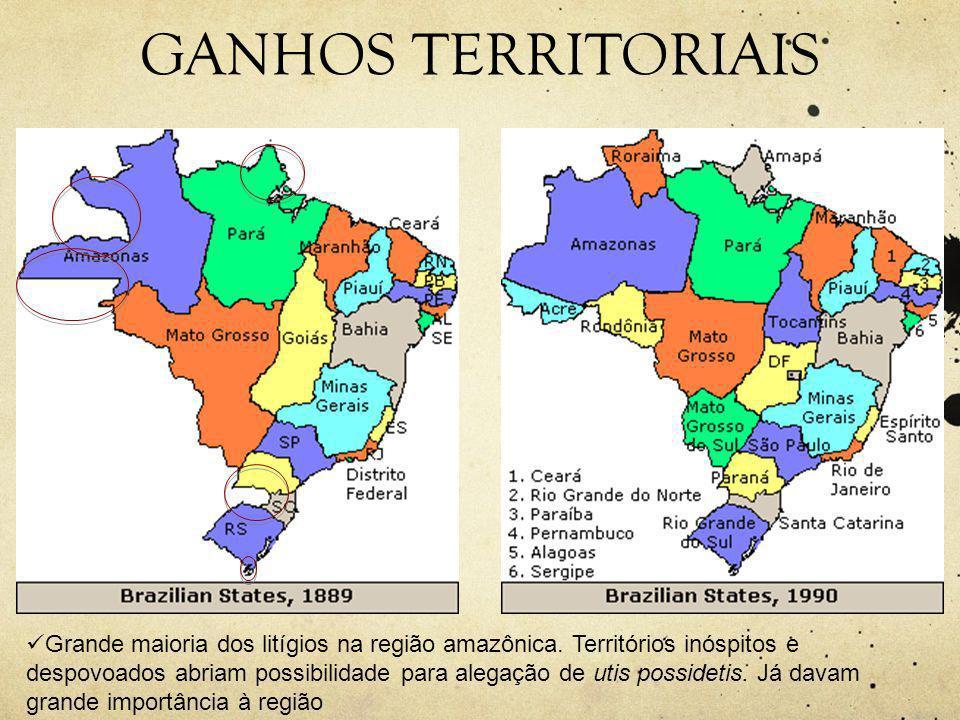 GANHOS TERRITORIAIS  Grande maioria dos litígios na região amazônica.