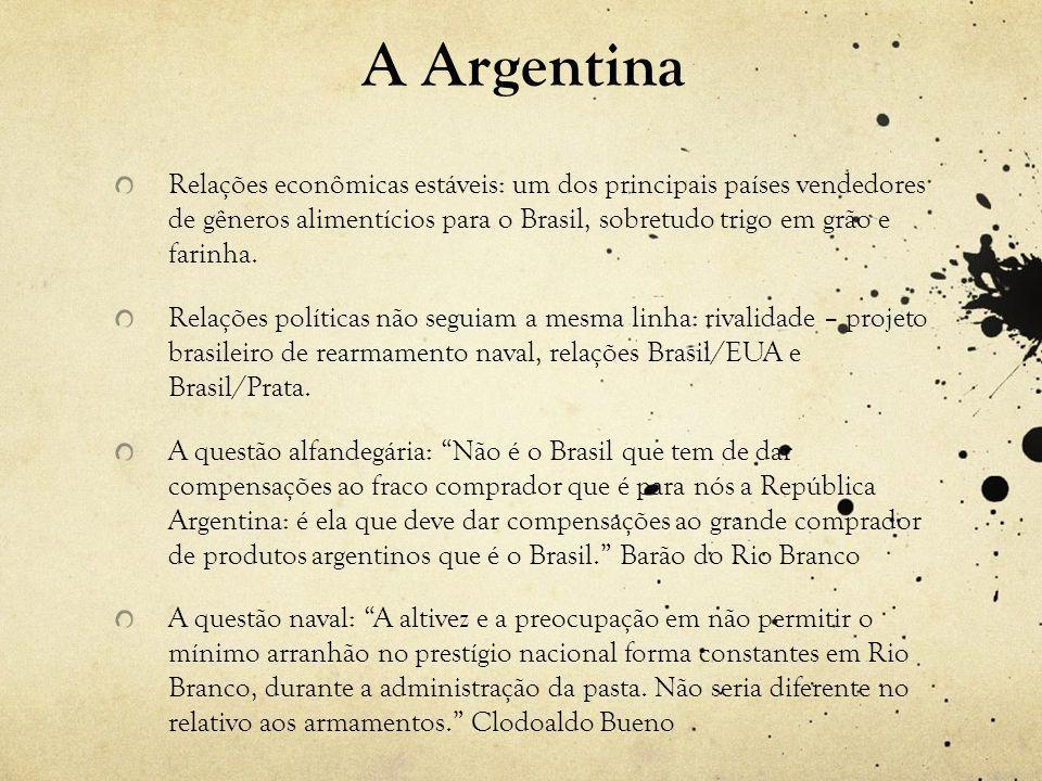 A Argentina Relações econômicas estáveis: um dos principais países vendedores de gêneros alimentícios para o Brasil, sobretudo trigo em grão e farinha.