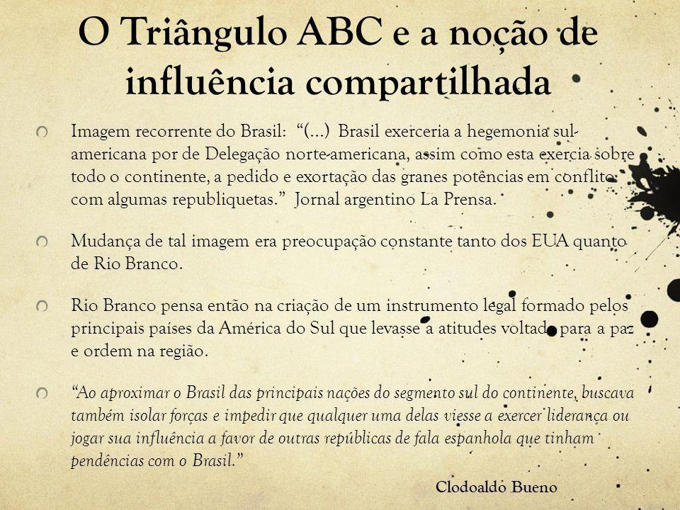 O Triângulo ABC e a noção de influência compartilhada Imagem recorrente do Brasil: (...) Brasil exerceria a hegemonia sul- americana por de Delegação norte-americana, assim como esta exercia sobre todo o continente, a pedido e exortação das granes potências em conflito com algumas republiquetas. Jornal argentino La Prensa.