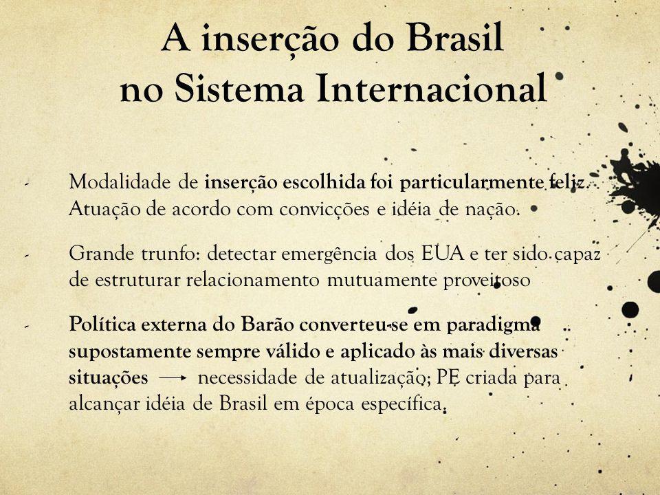 A inserção do Brasil no Sistema Internacional - Modalidade de inserção escolhida foi particularmente feliz.