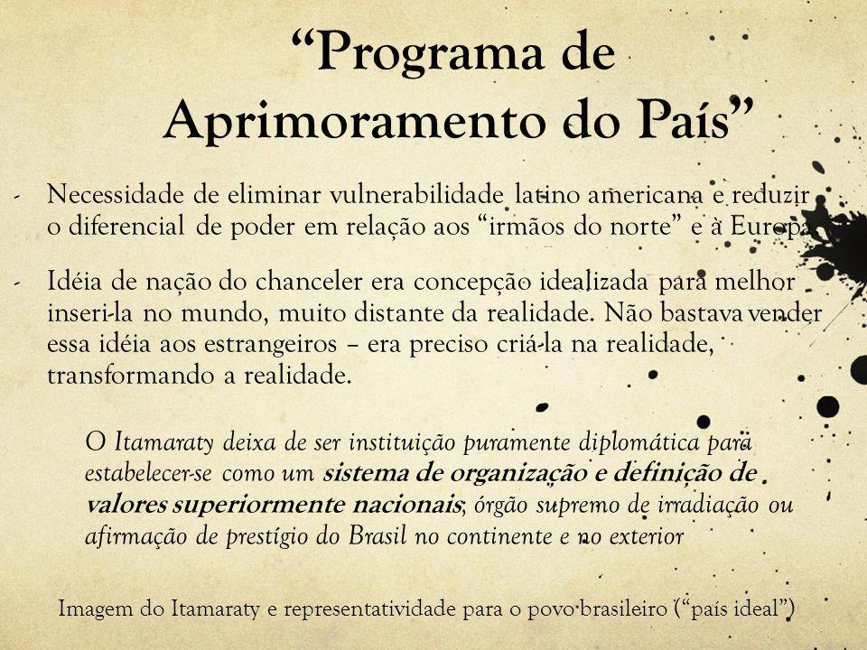 Programa de Aprimoramento do País - Necessidade de eliminar vulnerabilidade latino americana e reduzir o diferencial de poder em relação aos irmãos do norte e à Europa.