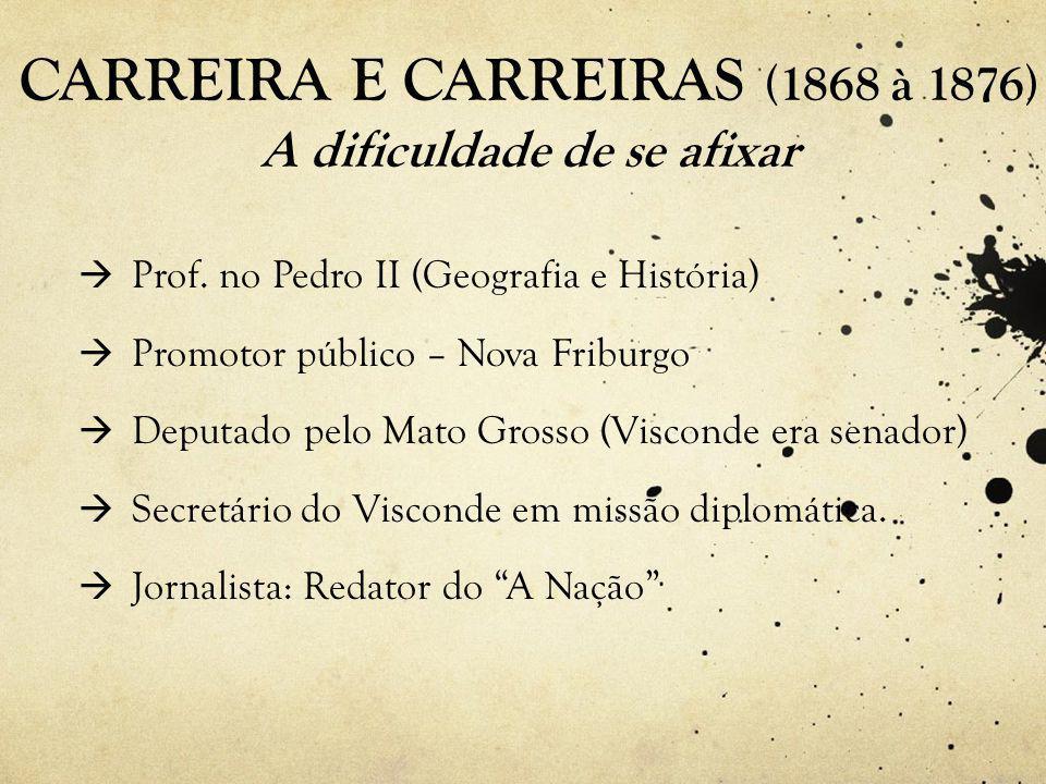 CARREIRA E CARREIRAS (1868 à 1876) A dificuldade de se afixar  Prof.
