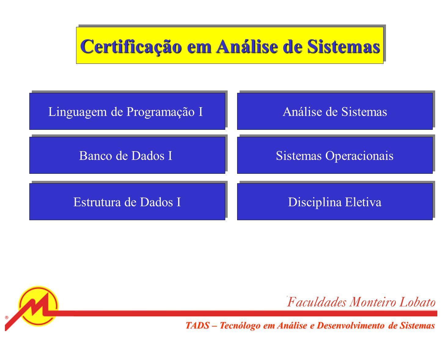 TADS – Tecnólogo em Análise e Desenvolvimento de Sistemas Certificação Básica Algoritmos de Programação I e II Fundamentos da Computação Matemática Di