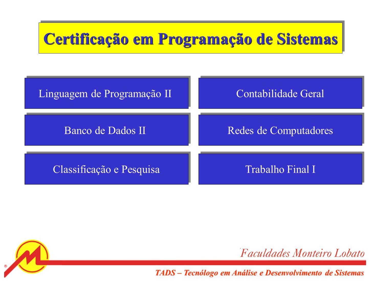 TADS – Tecnólogo em Análise e Desenvolvimento de Sistemas Certificação em Análise de Sistemas Linguagem de Programação I Banco de Dados I Estrutura de Dados I Sistemas Operacionais Disciplina Eletiva Análise de Sistemas