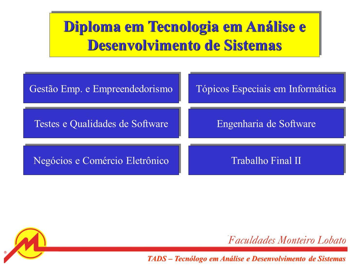 TADS – Tecnólogo em Análise e Desenvolvimento de Sistemas Certificação em Programação de Sistemas Linguagem de Programação II Banco de Dados II Classificação e Pesquisa Redes de Computadores Trabalho Final I Contabilidade Geral