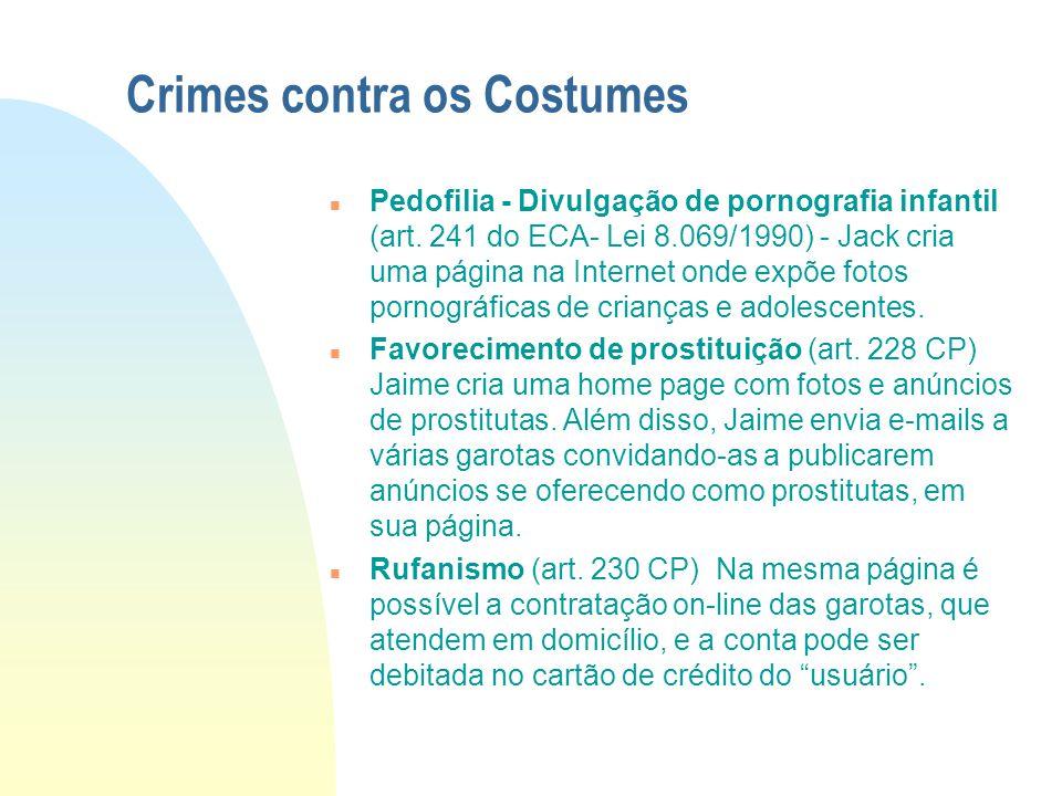 Crimes contra a propriedade Imaterial n Violação de Direito autoral (art. 12 da Lei nº 9.609/1998) Patrícia cria uma página na Internet na qual permit