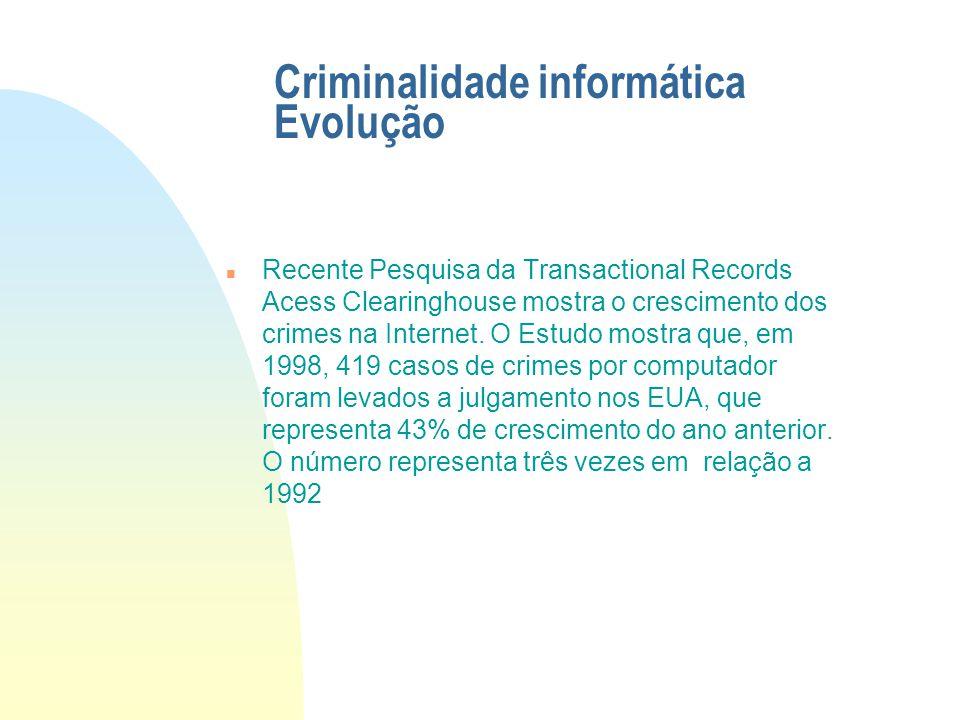 Introdução n Os crimes digitais são um fenômeno mundial e se alastram rapidamente. n O Direito Penal parece não está conseguindo acompanhar o ritmo da