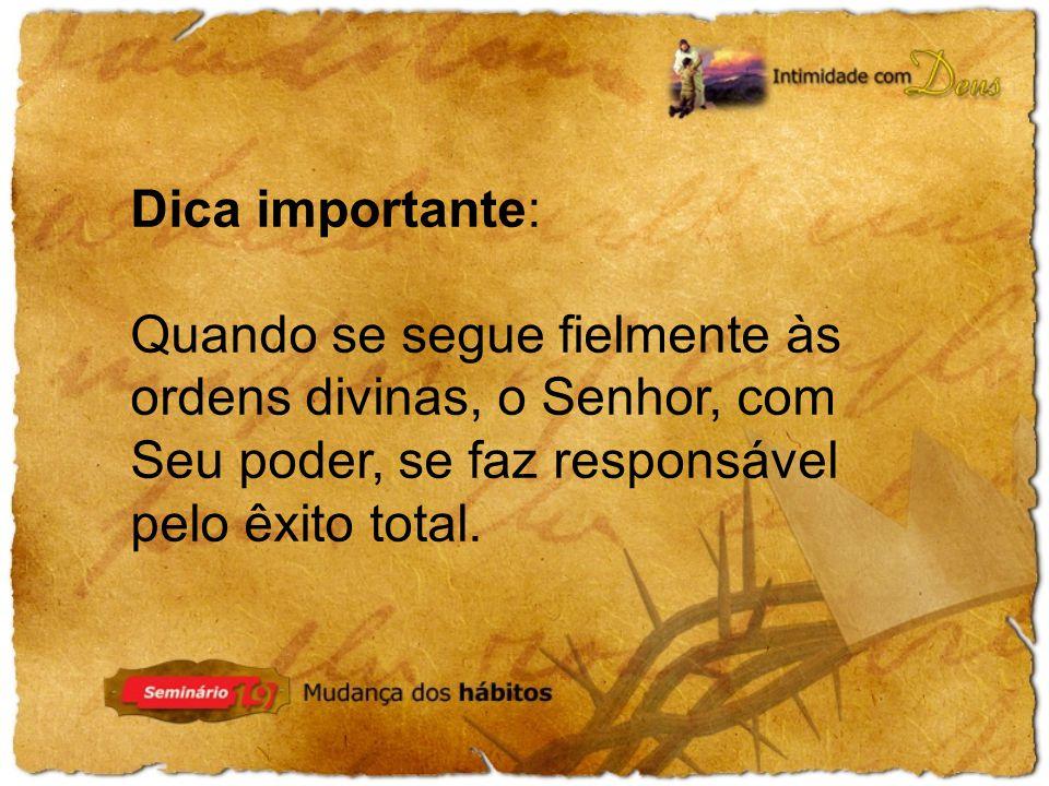 Dica importante: Quando se segue fielmente às ordens divinas, o Senhor, com Seu poder, se faz responsável pelo êxito total.