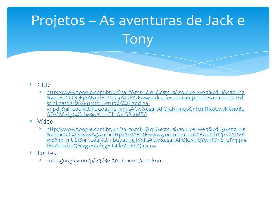 Projetos – As aventuras de Jack e Tony  GDD  http://www.google.com.br/url?sa=t&rct=j&q=&esrc=s&source=web&cd=1&cad=rja &ved=0CCQQFjAA&url=http%3A%2F