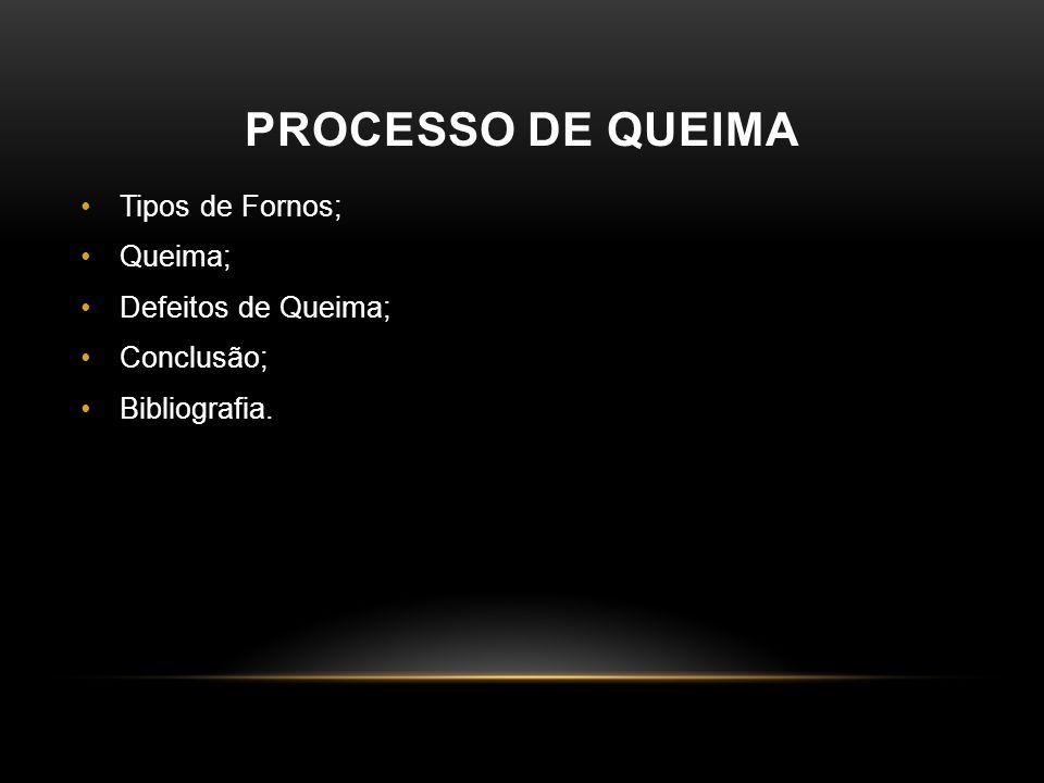 PROCESSO DE QUEIMA •Tipos de Fornos; •Queima; •Defeitos de Queima; •Conclusão; •Bibliografia.