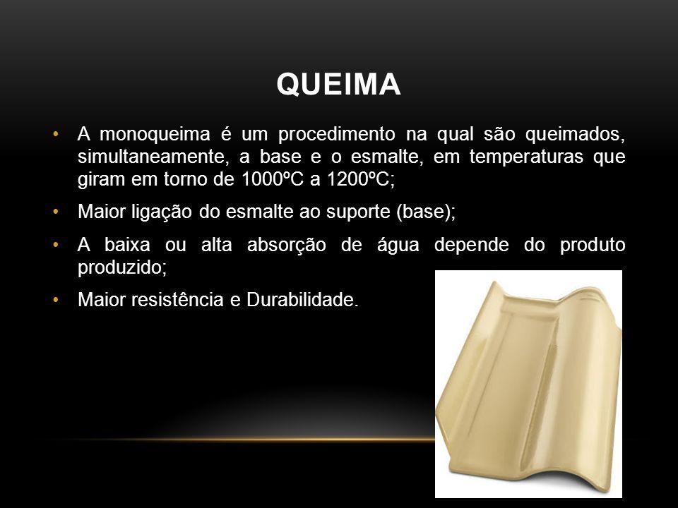 QUEIMA •A monoqueima é um procedimento na qual são queimados, simultaneamente, a base e o esmalte, em temperaturas que giram em torno de 1000ºC a 1200