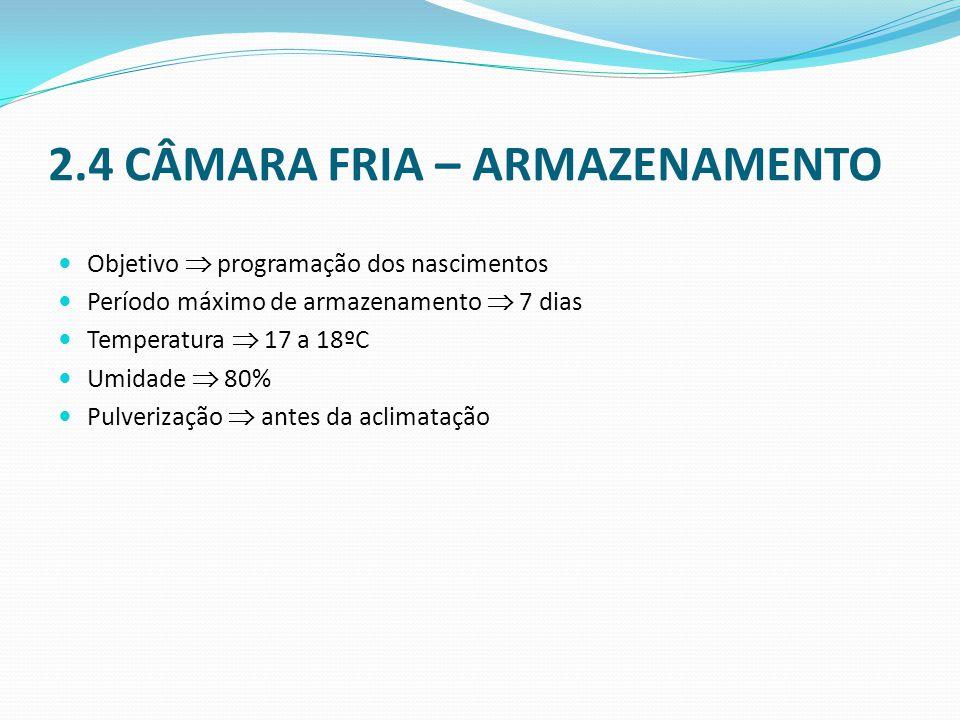 2.4 CÂMARA FRIA – ARMAZENAMENTO  Objetivo  programação dos nascimentos  Período máximo de armazenamento  7 dias  Temperatura  17 a 18ºC  Umidade  80%  Pulverização  antes da aclimatação