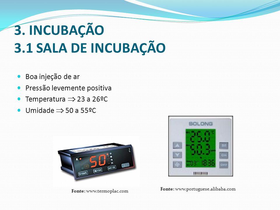 3. INCUBAÇÃO 3.1 SALA DE INCUBAÇÃO  Boa injeção de ar  Pressão levemente positiva  Temperatura  23 a 26ºC  Umidade  50 a 55ºC Fonte: www.termopl