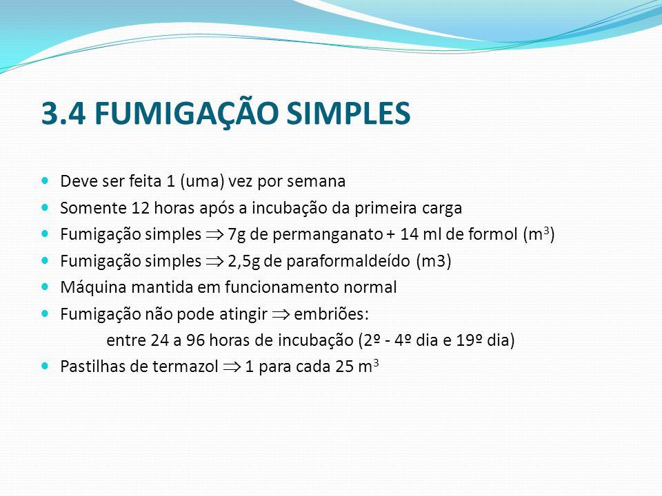 3.4 FUMIGAÇÃO SIMPLES  Deve ser feita 1 (uma) vez por semana  Somente 12 horas após a incubação da primeira carga  Fumigação simples  7g de permanganato + 14 ml de formol (m 3 )  Fumigação simples  2,5g de paraformaldeído (m3)  Máquina mantida em funcionamento normal  Fumigação não pode atingir  embriões: entre 24 a 96 horas de incubação (2º - 4º dia e 19º dia)  Pastilhas de termazol  1 para cada 25 m 3