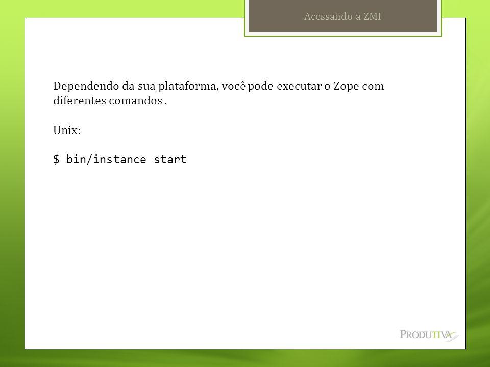 Acessando a ZMI Dependendo da sua plataforma, você pode executar o Zope com diferentes comandos. Unix: $ bin/instance start