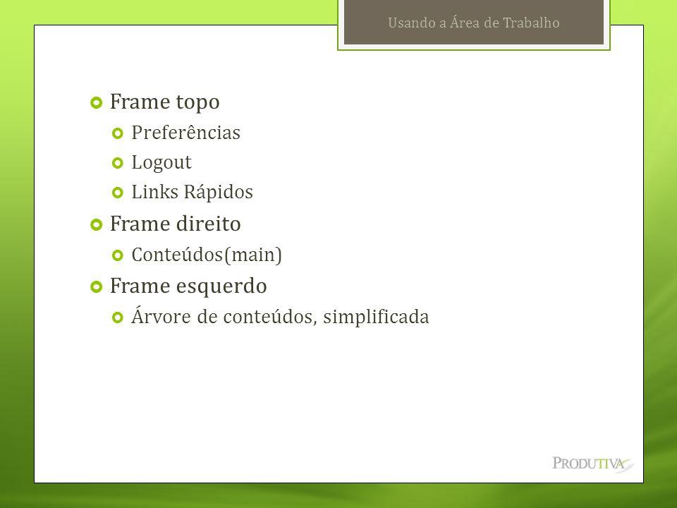 Usando a Área de Trabalho  Frame topo  Preferências  Logout  Links Rápidos  Frame direito  Conteúdos(main)  Frame esquerdo  Árvore de conteúdo