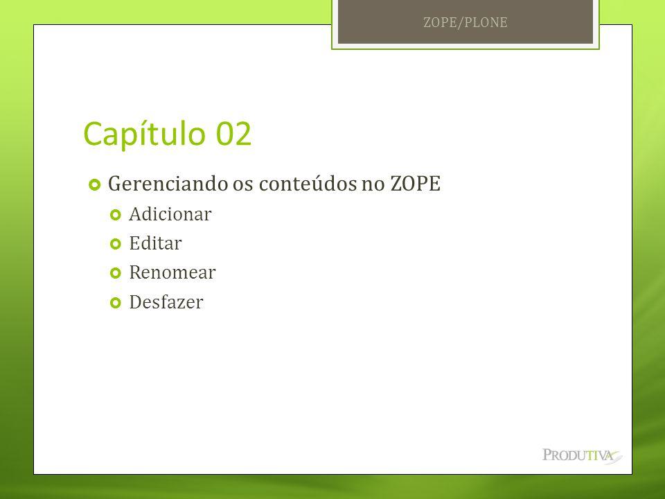 Capítulo 02  Gerenciando os conteúdos no ZOPE  Adicionar  Editar  Renomear  Desfazer ZOPE/PLONE