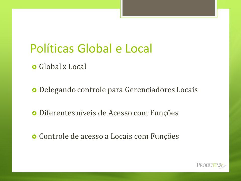 Políticas Global e Local  Global x Local  Delegando controle para Gerenciadores Locais  Diferentes níveis de Acesso com Funções  Controle de acess