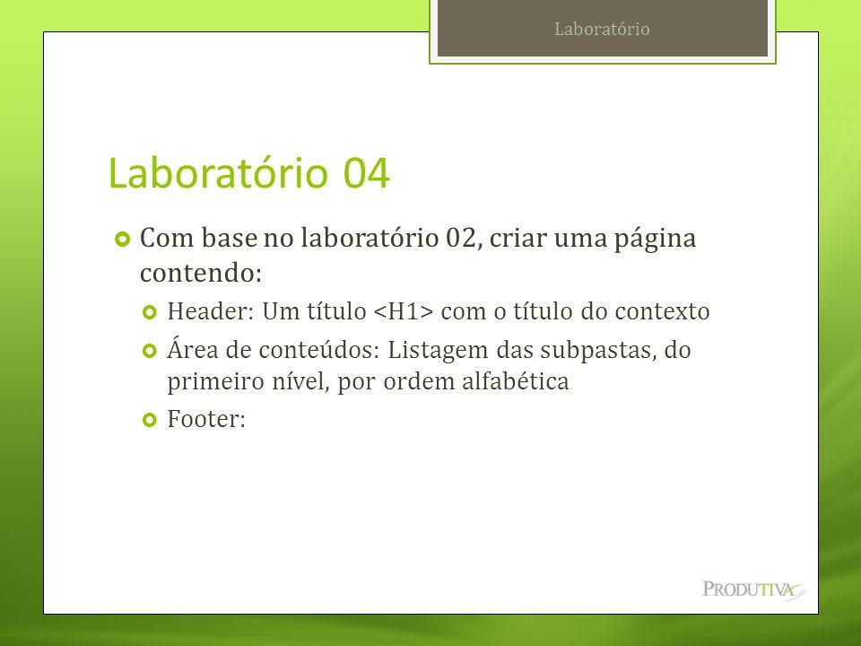 Laboratório 04  Com base no laboratório 02, criar uma página contendo:  Header: Um título com o título do contexto  Área de conteúdos: Listagem das