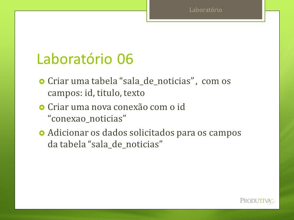 """Laboratório 06  Criar uma tabela """"sala_de_noticias"""", com os campos: id, titulo, texto  Criar uma nova conexão com o id """"conexao_noticias""""  Adiciona"""